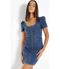 off shoulder spijkerjurk met rits en cup detail, mid blue
