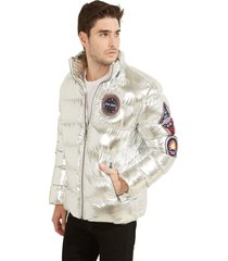 chaqueta arctic metallic nyln puffr plateado guess