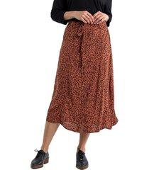 falda printed marrón curvi