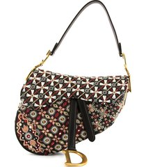 christian dior 2020 pre-owned abstract-print saddle shoulder bag -