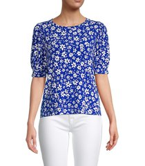 calvin klein women's ditsy floral-print top - blue multicolor - size xs