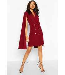 tall double breasted cape blazer dress, berry