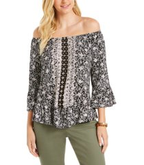 style & co printed convertible-neck top, created for macy's