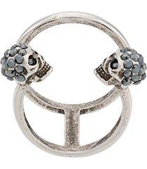 alexander mcqueen twin skull double ring - metallic