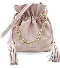 bolsa feminina maria verônica saco com corrente couro rosa