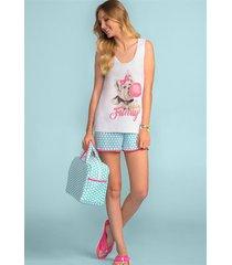 pijama adulto feminino com regata e shorts 100% algodão 166548 lua encantada