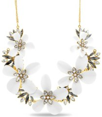 catherine malandrino rhinestone flower curb chain necklace in yellow gold-tone alloy