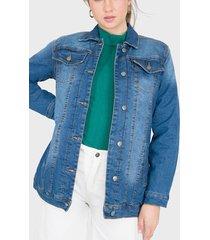 casaca io jeans azul - calce holgado