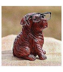 wood eyeglasses holder, 'obedient pug' (indonesia)