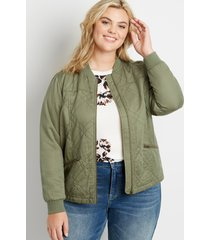 maurices plus size womens green quilted bomber jacket