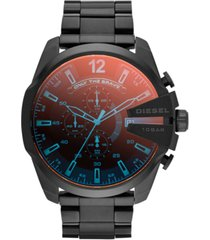 diesel men's chronograph iridescent crystal mega chief black ion-plated stainless steel bracelet watch 59x51mm dz4318