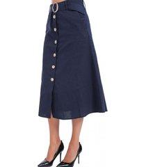 falda botones cinturón y bolsillos azul nicopoly