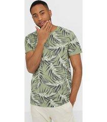 only & sons onsiason slim ss aop tee noos t-shirts & linnen grön