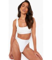 gerecyclede korte bikini top met schouderstrikjes, white