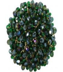 anillo redondo baño en oro verde metalizado bijulovers