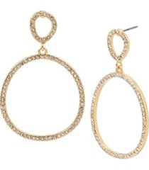 kenneth cole new york gold-tone pave gypsy hoop earrings