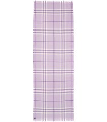 women's burberry giant check wool & silk gauze scarf, size one size - purple