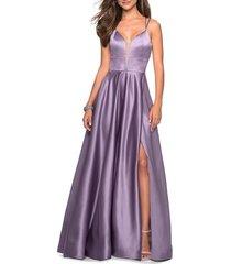 women's la femme strappy back satin ballgown