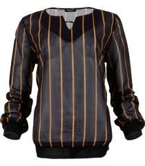 maicazz blouse lesh gold stripe zwart