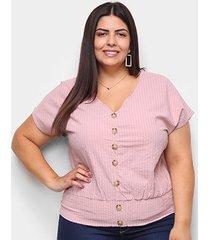 blusa allexia pluz size listrada botões feminina