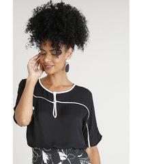 blusa feminina com vivo contrastante manga curta decote redondo preta
