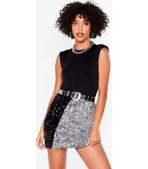womens sequin us over two-tone mini skirt - silver