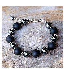 onyx beaded bracelet, 'dark cosmos' (thailand)