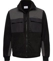 strukt zip fleece sweat-shirts & hoodies fleeces & midlayers zwart woodbird