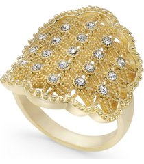 charter club gold-tone crystal openwork statement ring, created for macy's