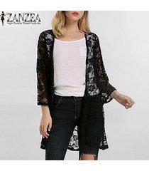zanzea verano de las mujeres elegantes de la rebeca del cordón atractivo del bordado del kimono hollow blusas sólidas fuera camisas beach outwear blusas tops (negro) -negro