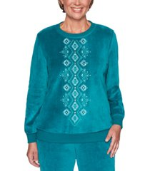 alfred dunner petite bright idea embroidered velour top