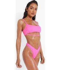 geribbelde bikini top met uitsnijding en vierkante hals, pink