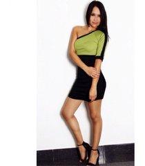 vestido asimétrico hombro sarab vah007v verde-negro