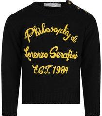 philosophy di lorenzo serafini black sweater for girl with logo