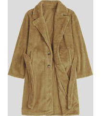 incerun abrigo delantero con botones de manga larga y lana mullida de invierno para hombre