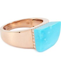 'sauvage prive' diamond turquoise 18k rose gold ring