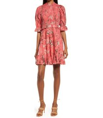 area stars priya floral smocked dress, size x-small in red at nordstrom
