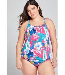 lane bryant women's blouson swim tankini top with no-wire bra 18 hibiscus tropics
