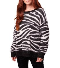 women's b.o.g. collective baxter animal print shimmer crewneck sweater, size large - black