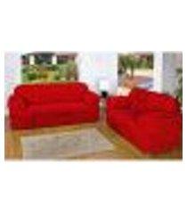 capa de sofá vermelha 3 e 2 luares com elástico