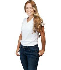camiseta blanca luck & load cuello v mujer
