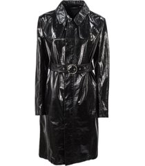 maison margiela black leather belted coat