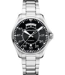 hamilton khaki aviation automatic bracelet watch, 42mm in silver/black/silver at nordstrom
