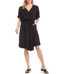 women's karen kane faux wrap dress, size x-large - black