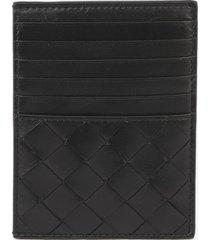 bottega veneta card holder with maxi intrecciato motif in leather