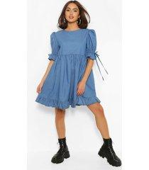gesmokte chambray jurk met pofmouwen, middenblauw
