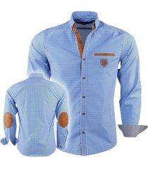 megaman megaman heren overhemd met elleboog pads slimfit geblokt blauw - wit