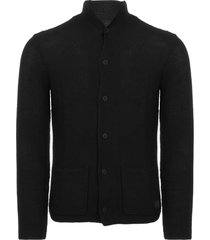 replay jeans black wool cardigan with lapels uk1611-098