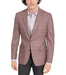 bar iii men's slim-fit tan windowpane plaid sport coat, created for macy's