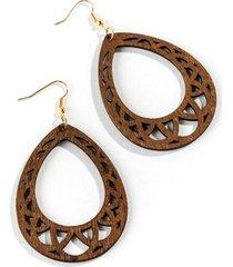 adelaide wood teardrop earrings - brown